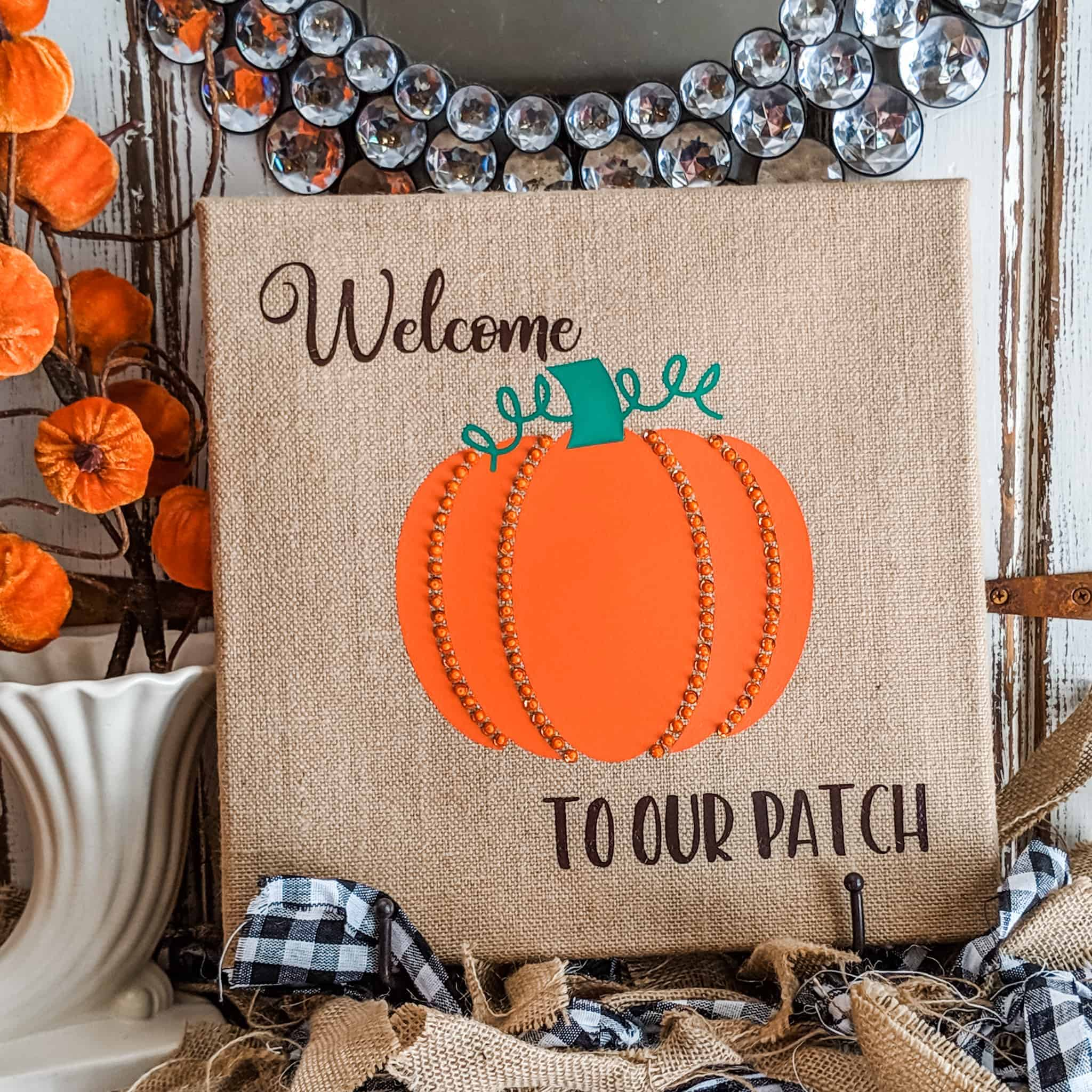 beaded pumpkin fall decor idea