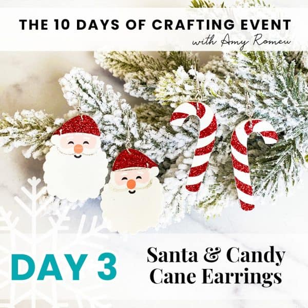 santa earrings and candy cane earrings