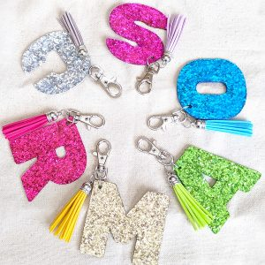 DIY Cricut Glitter Letter Keychains