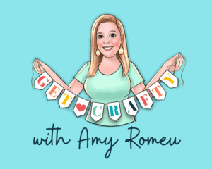 cartoon graphic for get crafty with amy romeu facebook group