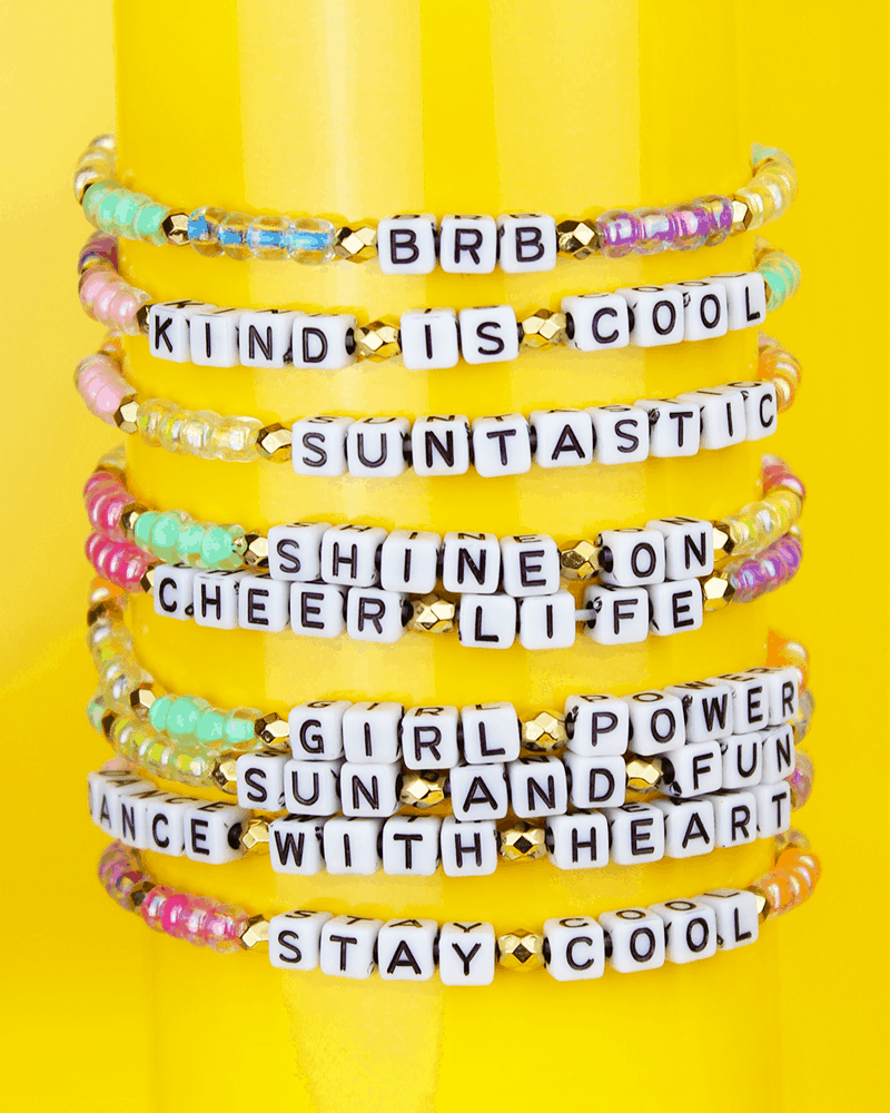 stretch bracelets with letter beads