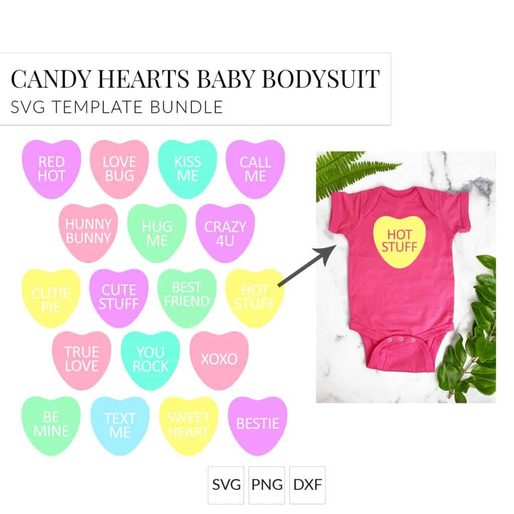 candy heart SVGs shown on a baby onesie
