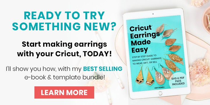 Cricut Earrings Made Easy workbook and earring cut file template bundle