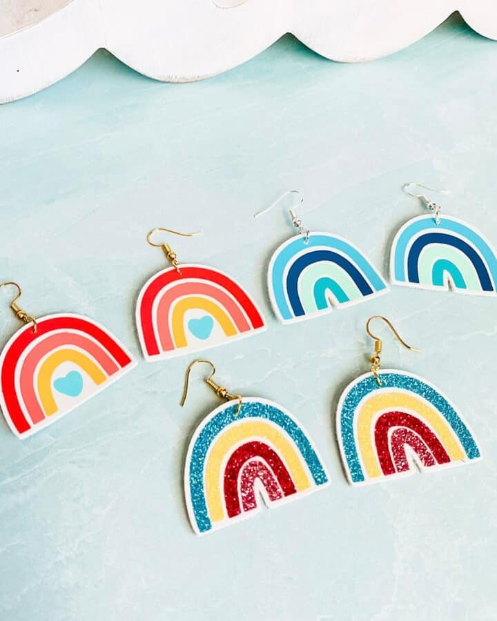 three pair of rainbow earrings