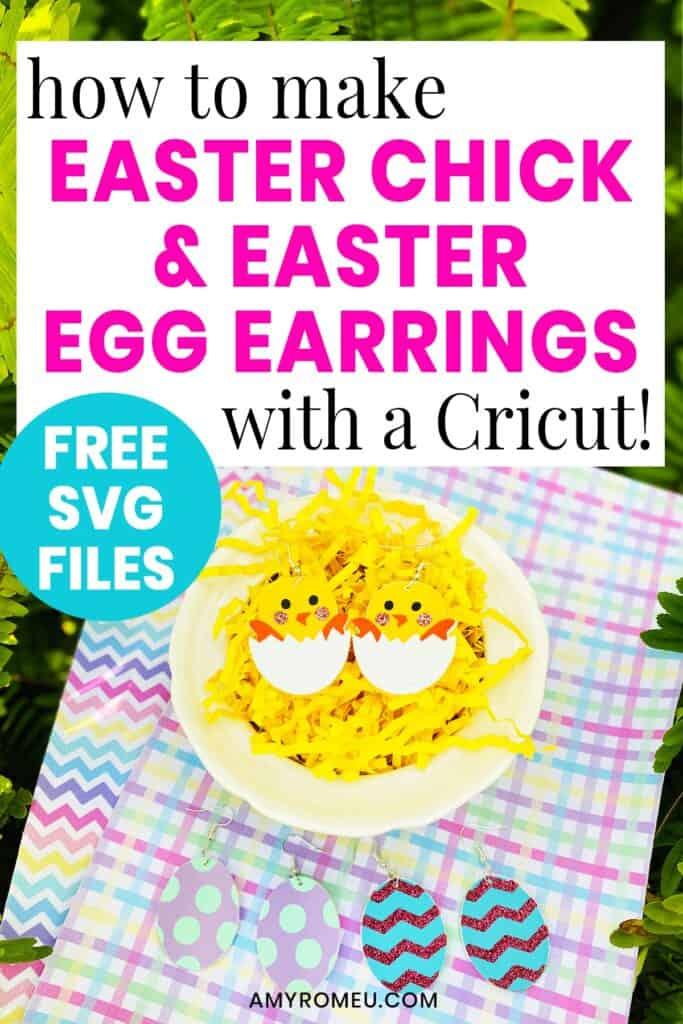 Easy Cricut Easter Chick Earrings & Easter Egg Earrings