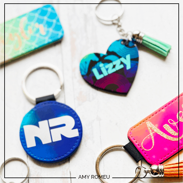 personalized Cricut infusible ink keychains