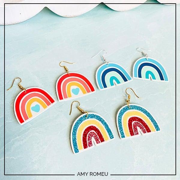Cricut Rainbow Earrings DIY