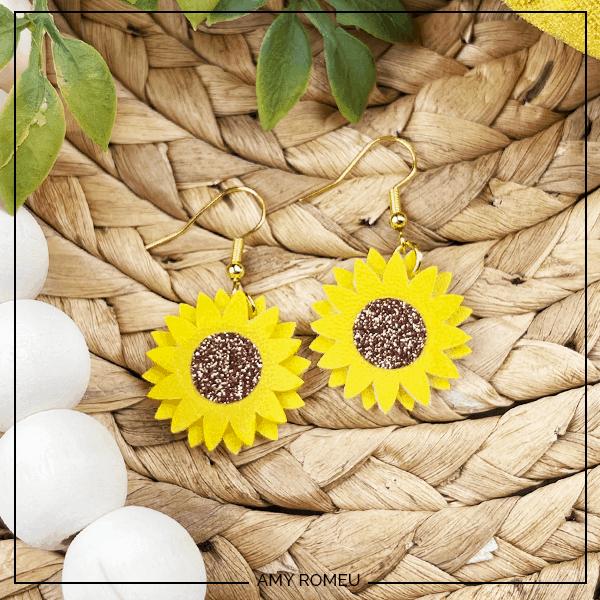 Easy Cricut Faux Leather Sunflower Earrings