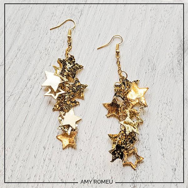 chunky glitter star earrings made with a cricut