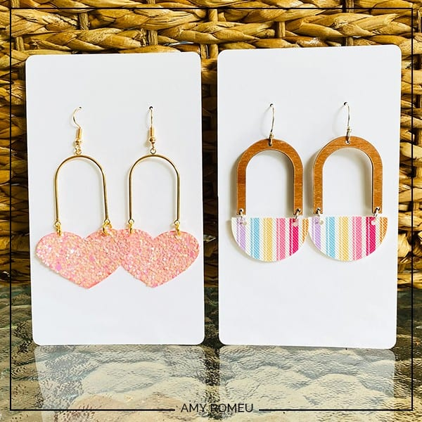 faux leather and arch connector earrings