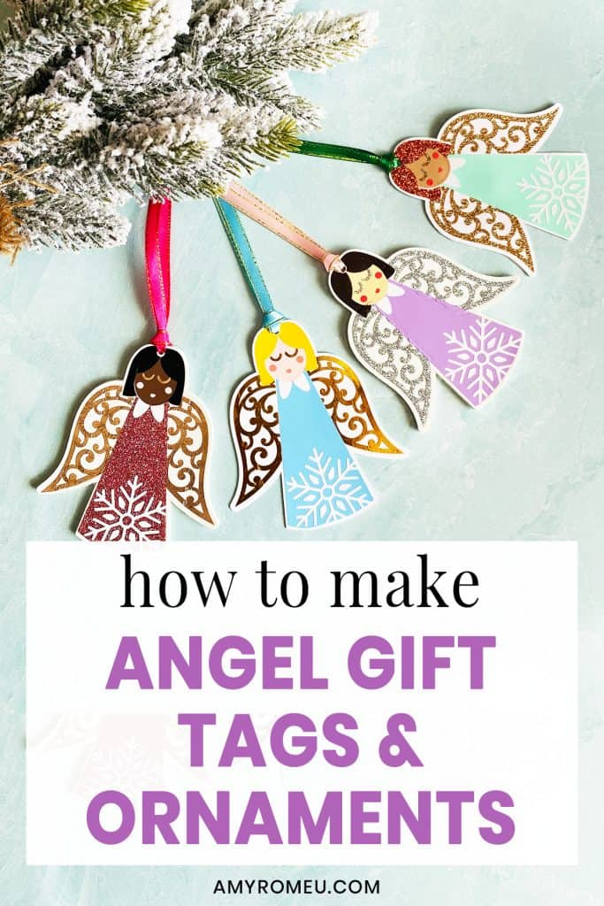 four Christmas angel gift tags