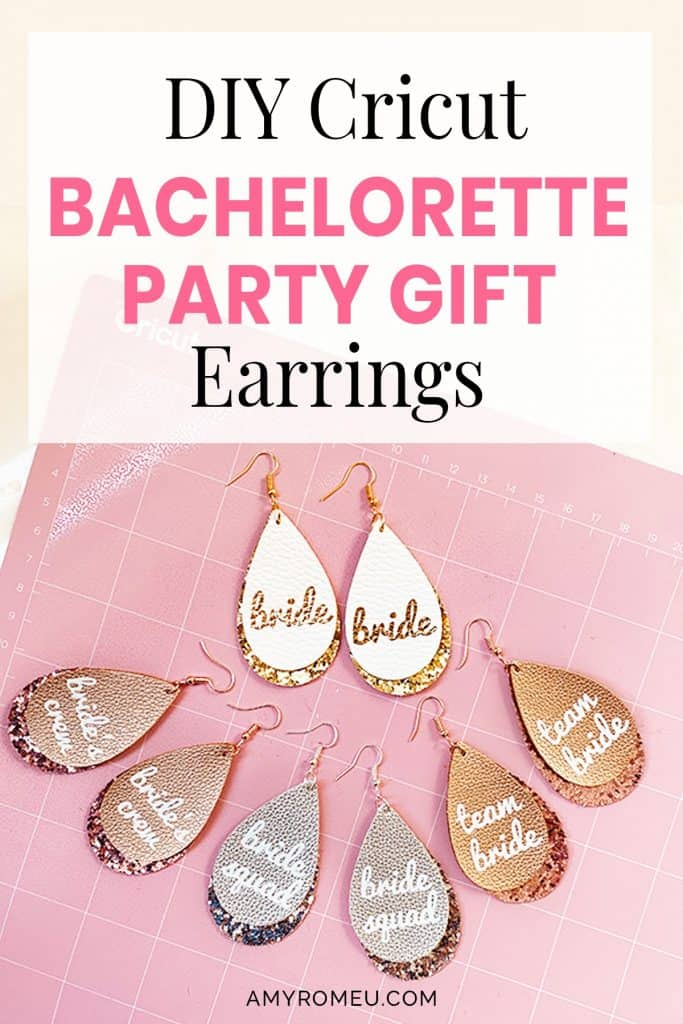 DIY Cricut Bachelorette Party Gift Earrings Made with a Cricut from Amy Romeu