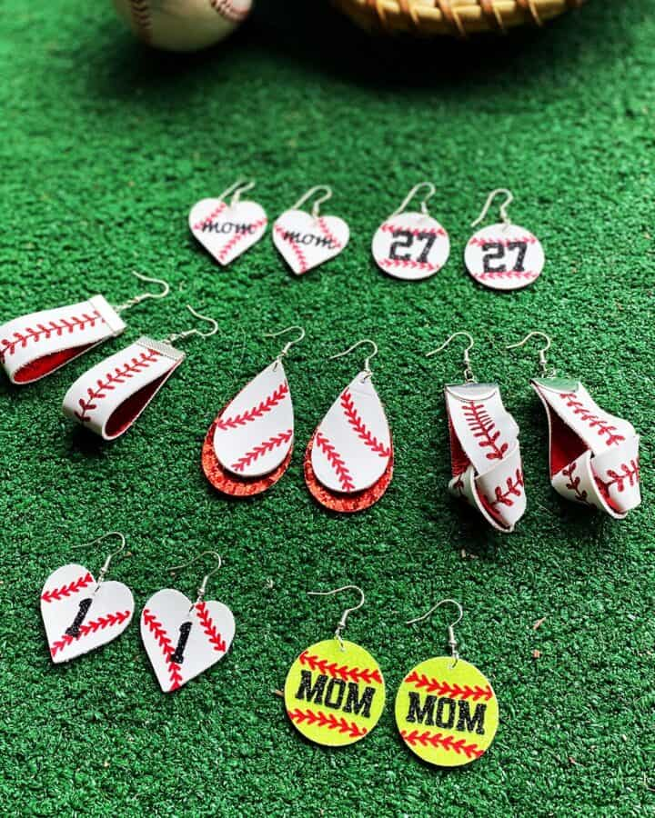 DIY Cricut faux leather baseball earrings and softball earrings
