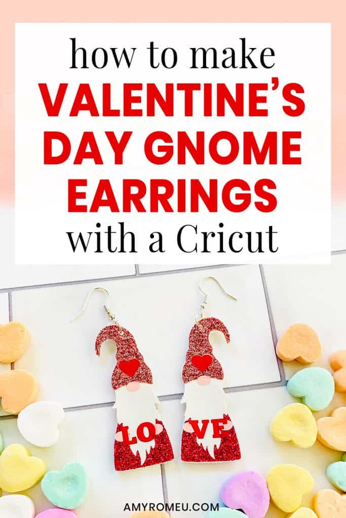 DIY Cricut Faux Leather Valentine's Day Gnome Earrings