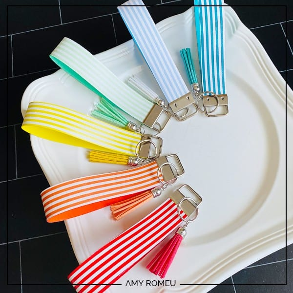 Cricut Faux Leather Key Fob Wristlets in assorted rainbow colors