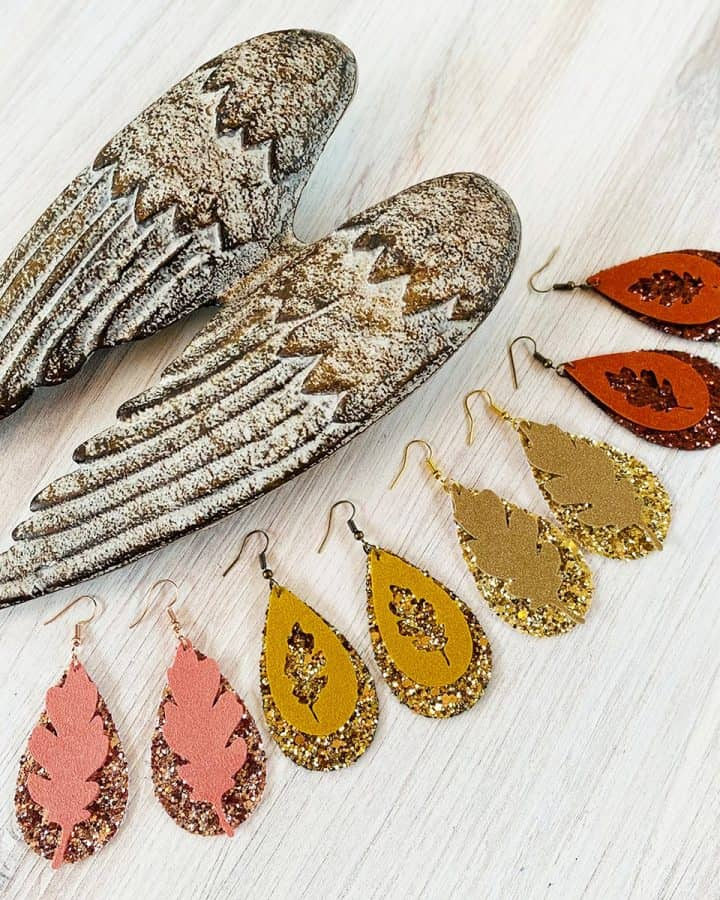 DIY Cricut Faux Suede Fall Leaf Earrings