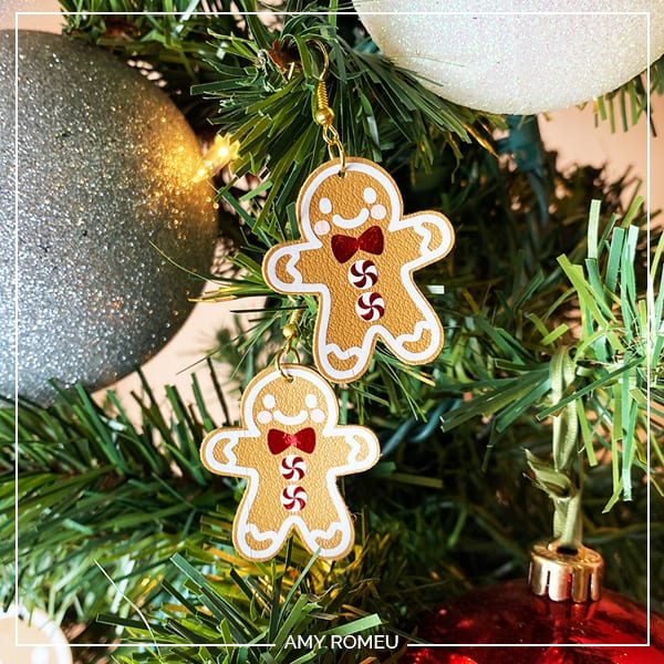 Faux Leather Gingerbread Man Earrings