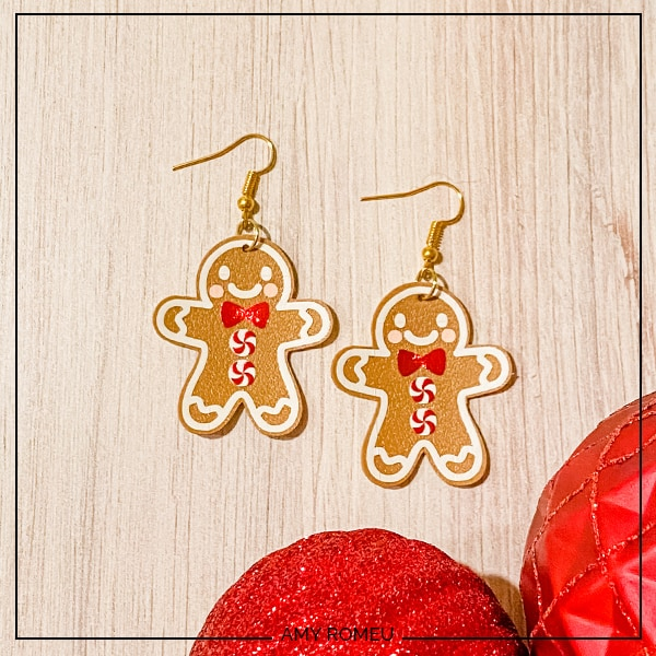 Faux Leather Cricut Gingerbread Man Earrings