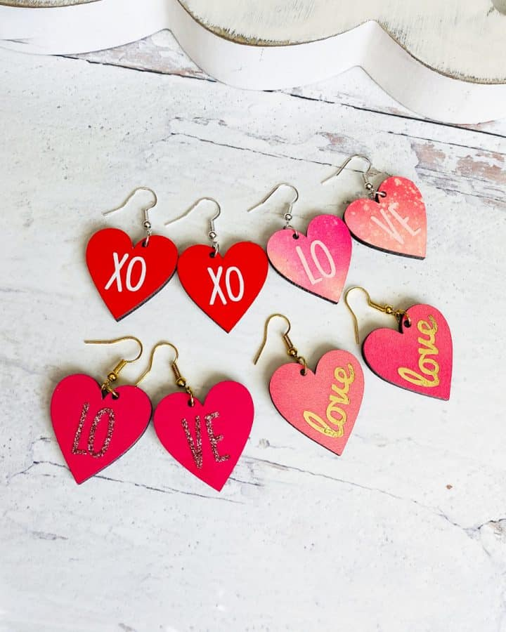 infusible ink heart earrings