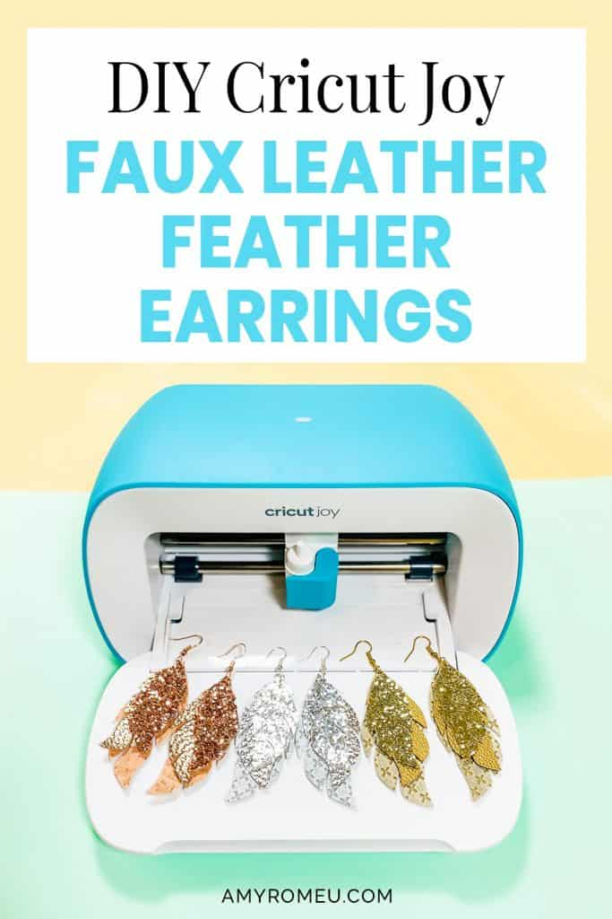 Cricut Joy and three faux leather glitter feather earrings