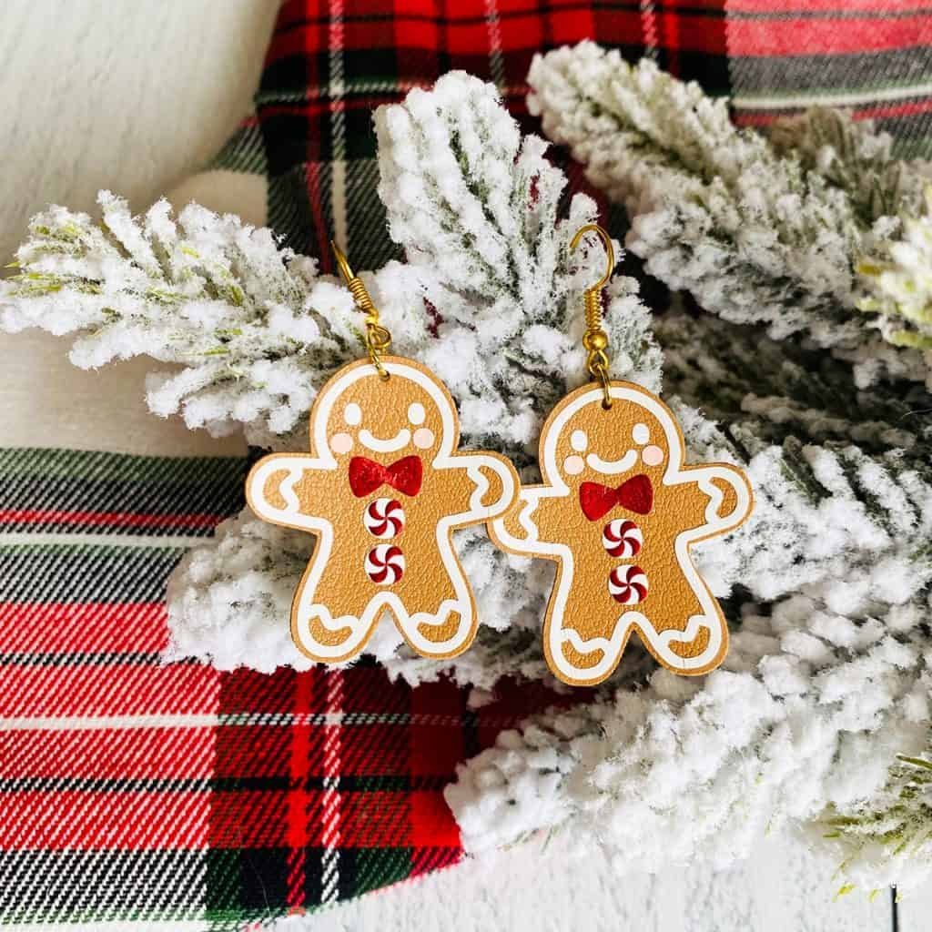 gingerbread man earrings made of faux leather