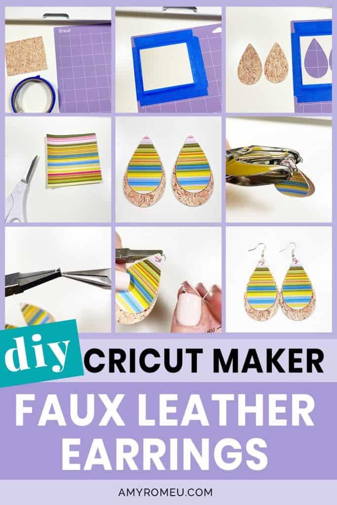 DIY Cricut Maker Faux Leather Earrings
