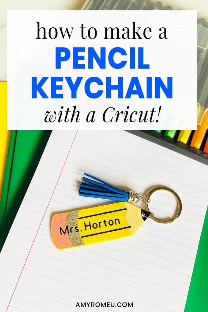 pencil keychain stacked on top of school supplies