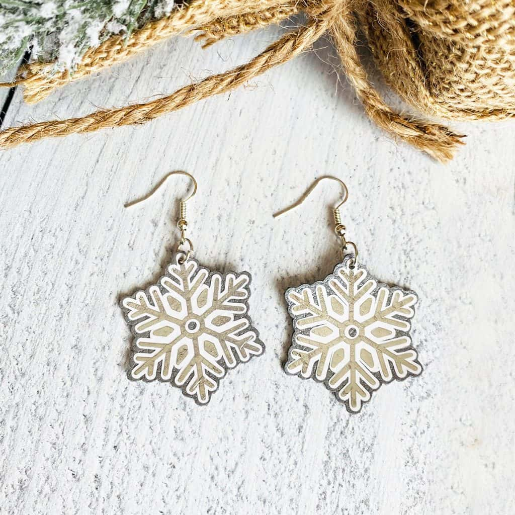 DIY Cricut Snowflake Earrings
