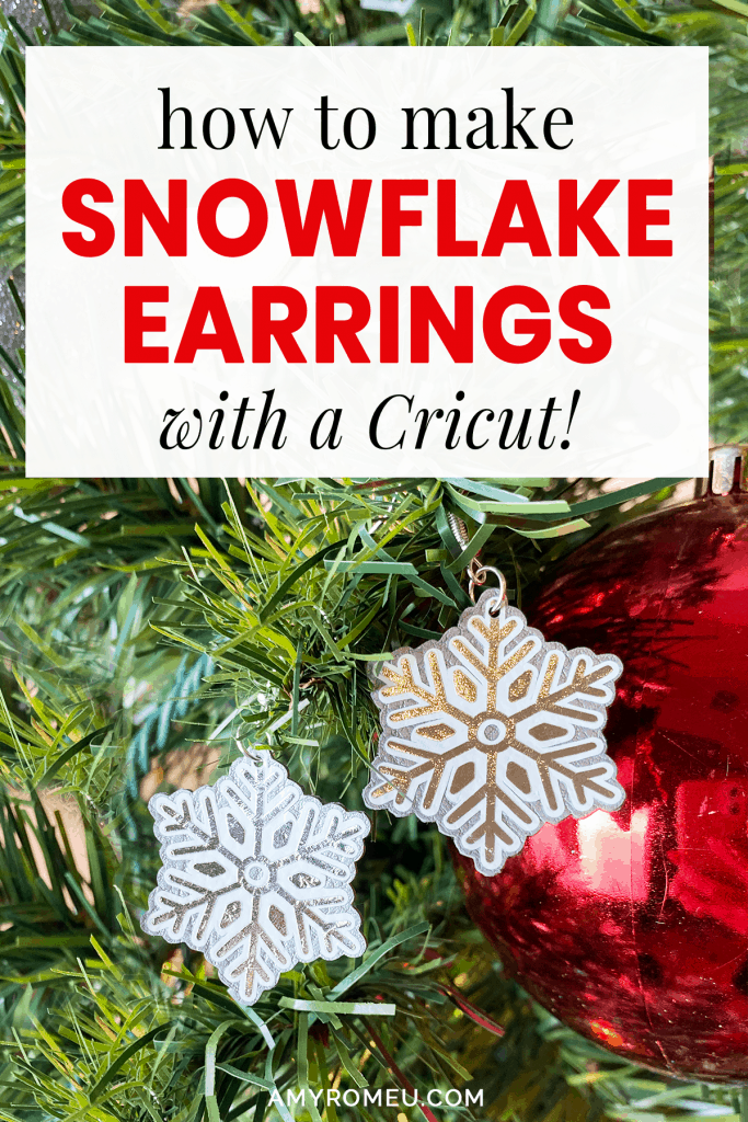 snowflake earrings on a Christmas tree