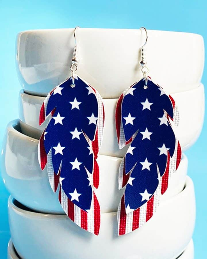 DIY stars and stripes faux leather feather earrings