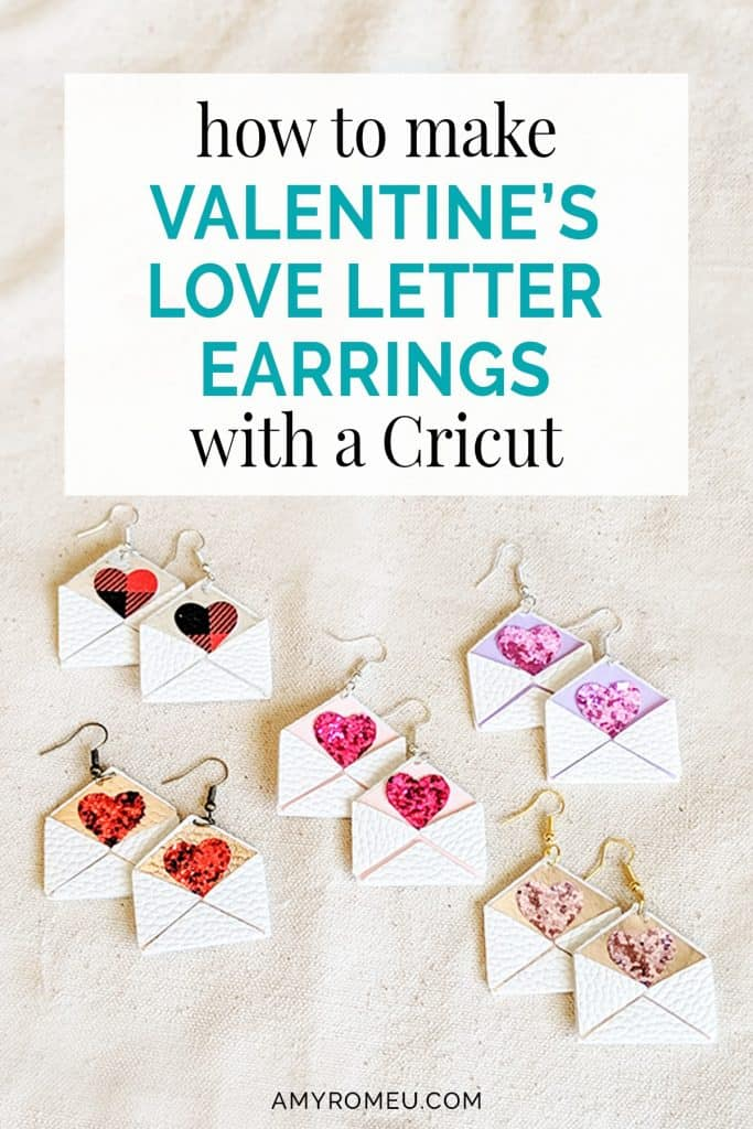 DIY faux leather love letter envelope earrings made with Cricut