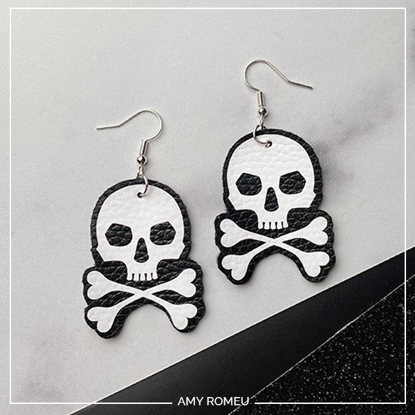 DIY Halloween Skull Earrings Amy Romeu
