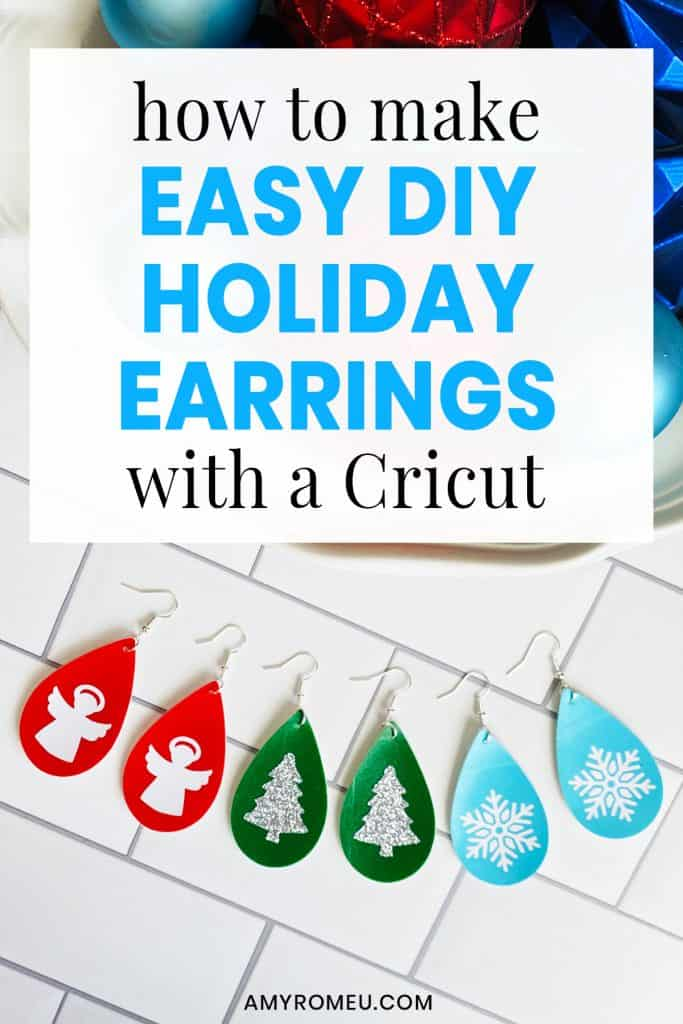DIY Easy Holiday Faux Leather Earrings with a Cricut