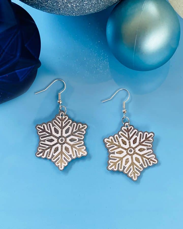 Cricut Faux Leather Snowflake Earrings