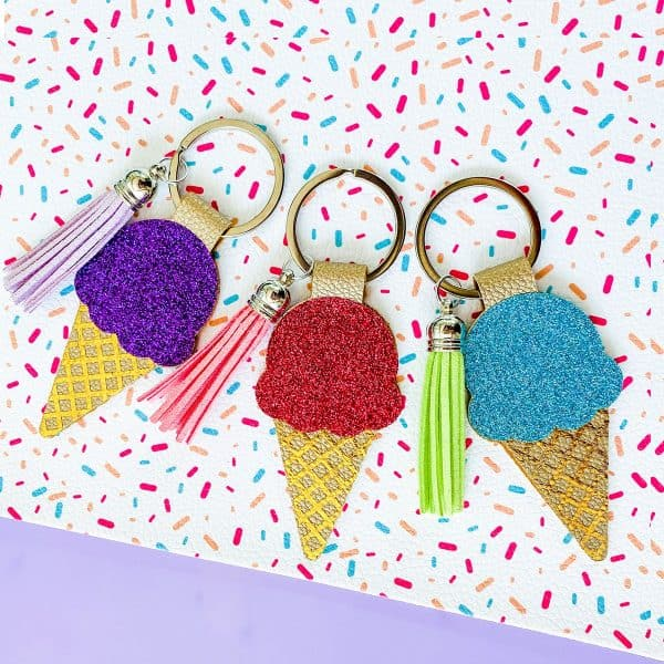3 colorful Cricut ice cream cone faux leather keychains