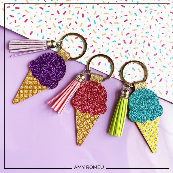 DIY Faux Leather Ice Cream Cone Keychains with a Cricut Explore Air 2