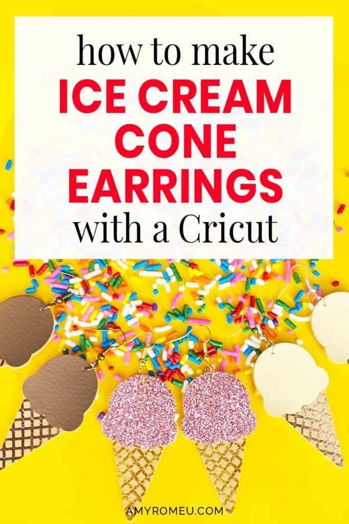 ice cream cone earrings in three colors