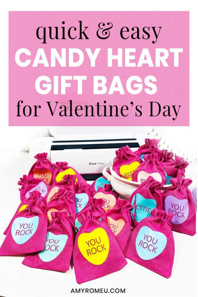 Easy Cricut DIY Candy Heart Gift Bags for Valentine's Day