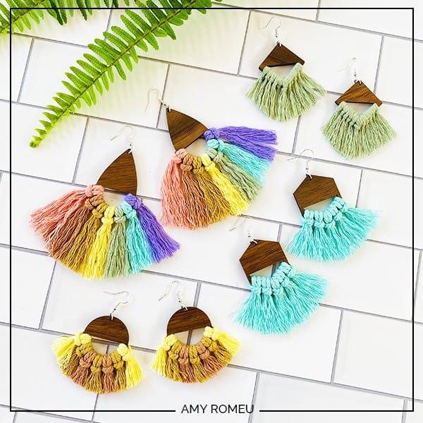 Macrame Earrings for Beginners in assorted colors