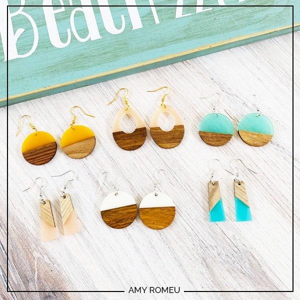 Wood Resin Earrings DIY