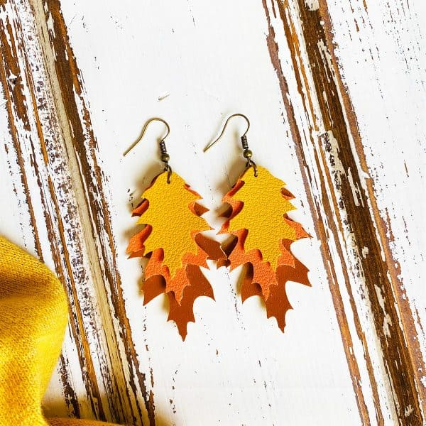 layered fall leaf faux leather earrings