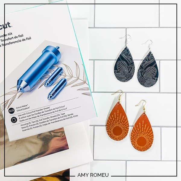 Foiled Faux Leather Teardrop Earrings with the Cricut Foil Transfer Kit