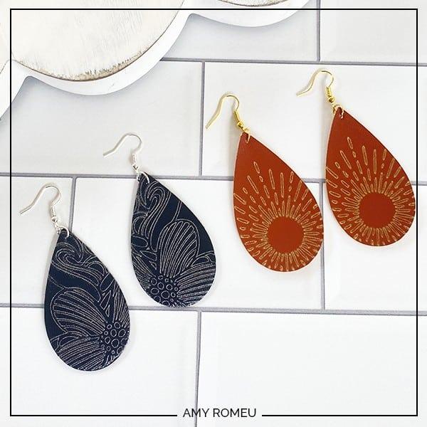 DIY Leather Teardrop Earrings with Foil