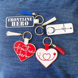 frontline hero faux leather keychains
