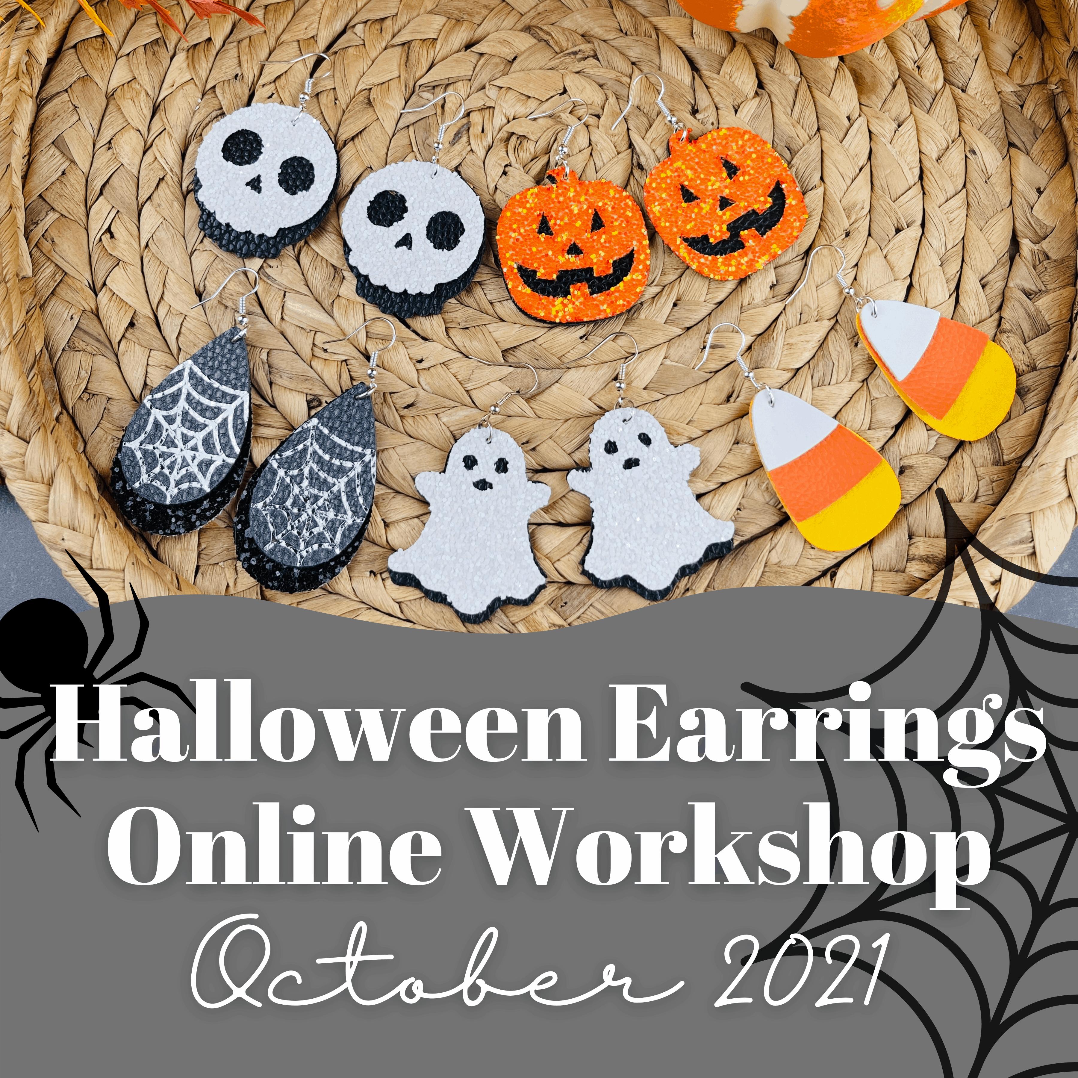 assorted halloween faux leather earrings