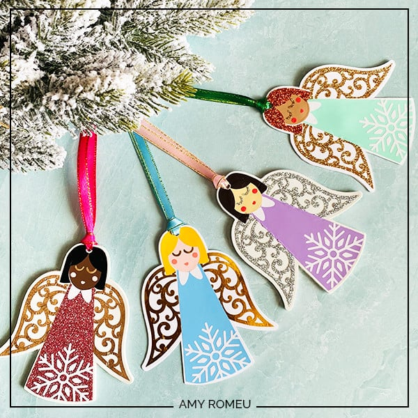 angel ornaments made with a Cricut