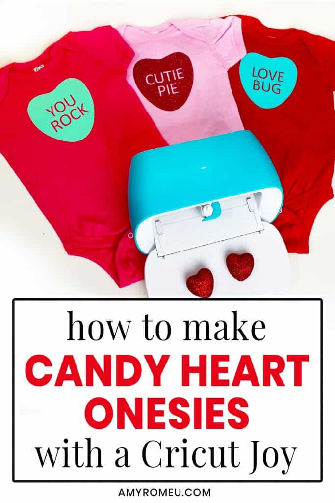 Cricut Joy and Candy Heart Onesies for Valentine's Day