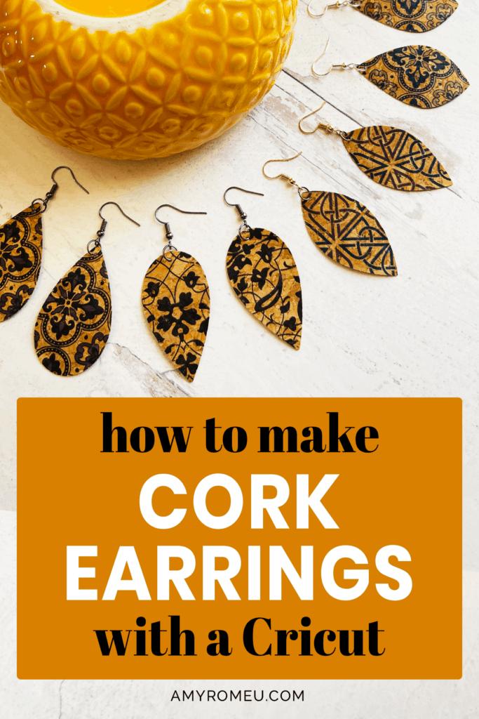 cork faux leather earrings