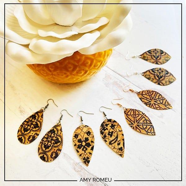 Cricut cork earrings