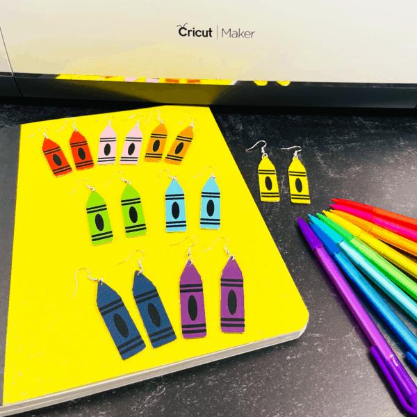 faux leather crayon earrings